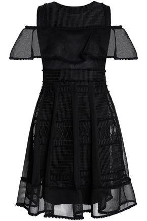 MAJE Cold-shoulder embroidered mesh mini dress
