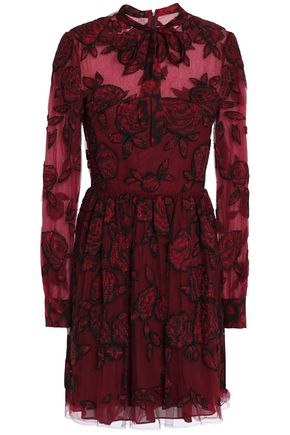 VALENTINO Pussy-bow embellished appliquéd tulle mini dress