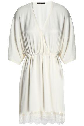 MAJE Wrap-effect lace-trimmed crepe mini dress