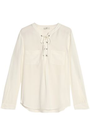 JOIE Lace-up silk crepe de chine blouse