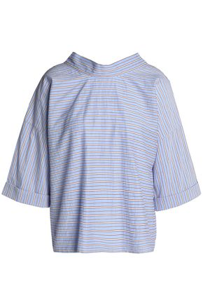 MAJE Bow-detailed striped cotton-blend poplin top
