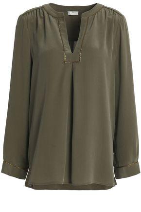 JOIE Lamé-trimmed silk crepe de chine blouse