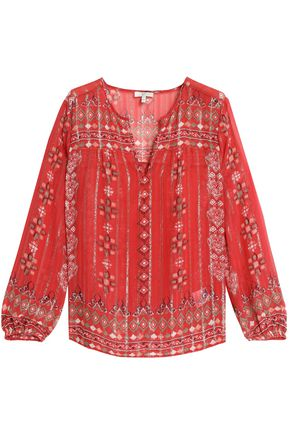 JOIE Lamé-trimmed printed silk-blend georgette blouse