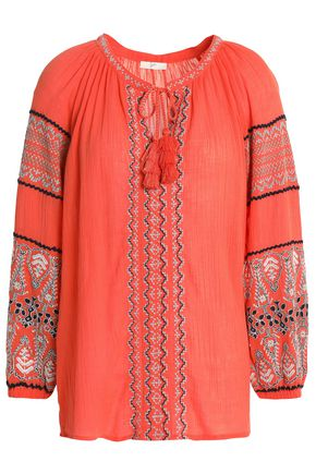 JOIE Embroidered crinkled cotton-gauze blouse