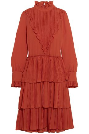 c19d2a6bd0 SEE BY CHLOÉ Tiered plissé-paneled georgette dress