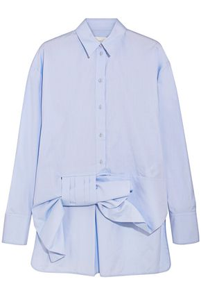 VICTORIA BECKHAM Bow-embellished cotton-oxford shirt