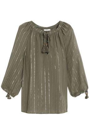 JOIE Lamé-trimmed silk-blend georgette blouse