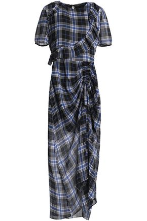 MAJE Ruched checked flannel maxi dress