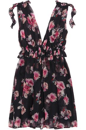 MSGM Ruffle-trimmed floral-print silk-chiffon mini dress
