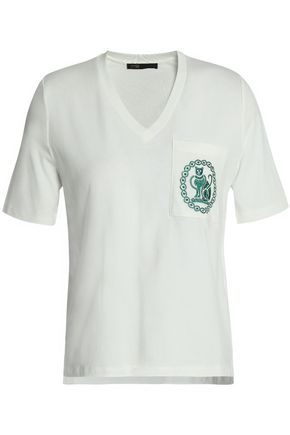 MAJE Embroidered cotton-jersey T-shirt
