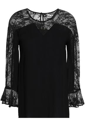 MAJE Lace-paneled crepe top
