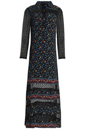 MAJE Point d'esprit-trimmed floral-print crepe de chine midi shirtdress