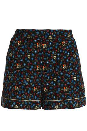 MAJE Floral-print crepe shorts