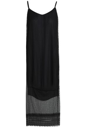 MAJE Raelys lace-trimmed pleated point d'esprit slip dress
