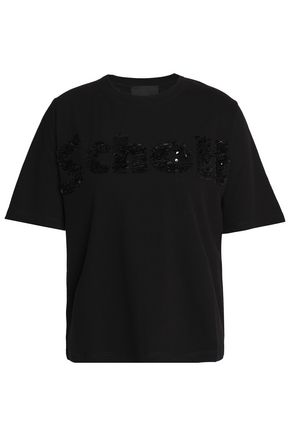 MAJE Sequin-embellished cotton-jersey T-shirt