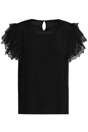 MAJE Embroidered point d'esprit and jersey top