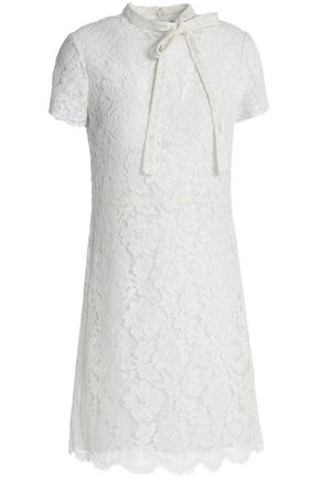 VALENTINO GARAVANI Pussy-bow cotton-blend corded lace mini dress