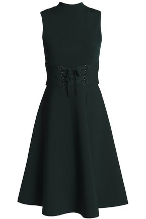44ddcc9882d643 Maje Woman Lace-up Fluted Stretch-ponte Dress Dark Green Size 2 ...