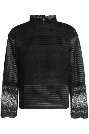 MAJE Lizie paneled lace top