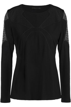 MAJE Point d'esprit-paneled modal and wool-blend top