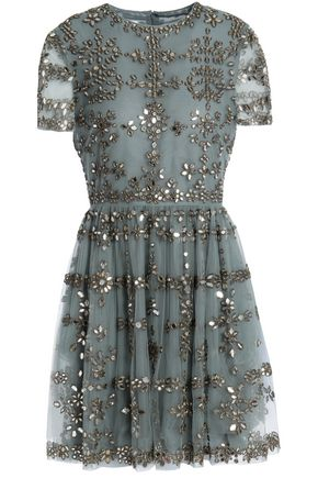 VALENTINO Embellished embroidered tulle mini dress