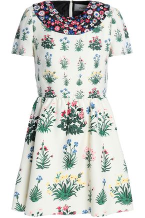 VALENTINO Gathered floral-print wool and silk-blend crepe mini dress