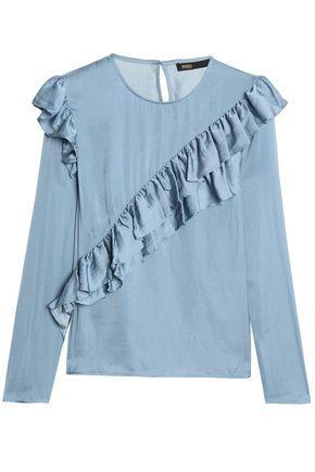 MAJE Ruffled satin blouse