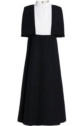 VALENTINO Cape-effect two-tone wool midi dress