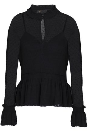 MAJE Plissé georgette and point d'esprit peplum blouse
