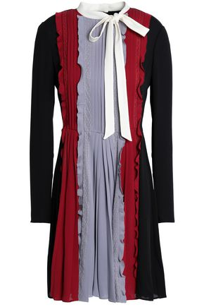 VALENTINO Pussy-bow pleated point d'esprit and silk-crepe mini dress