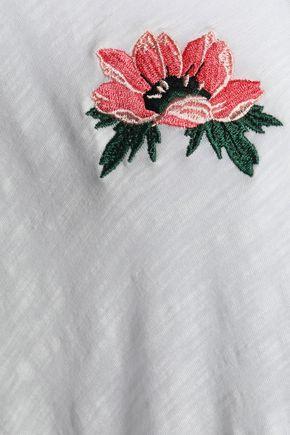 MAJE Embroidered slub cotton-jersey T-shirt