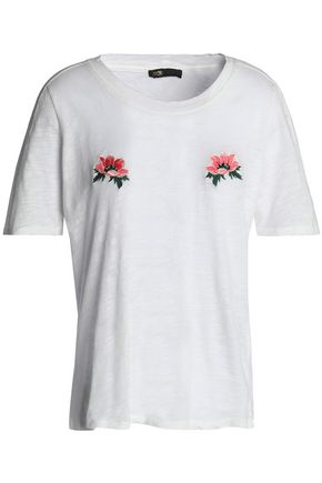 MAJE Embroidered slub cotton-jersey T-shirt