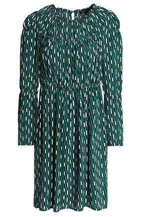 MAJE Gathered printed crepe de chine mini dress