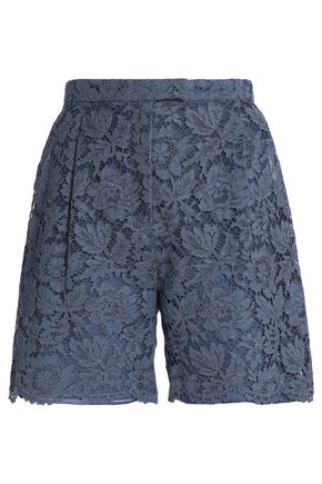 VALENTINO Cotton-blend corded lace shorts