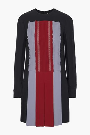 VALENTINO Lace-trimmed pleated color-block silk-crepe mini dress