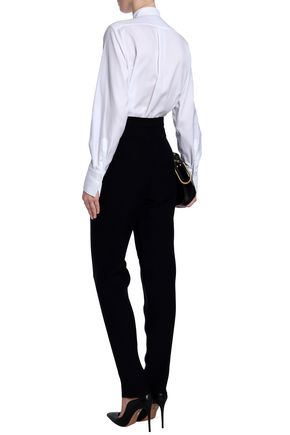 VALENTINO Ruffle-trimmed pintucked cotton Oxford shirt
