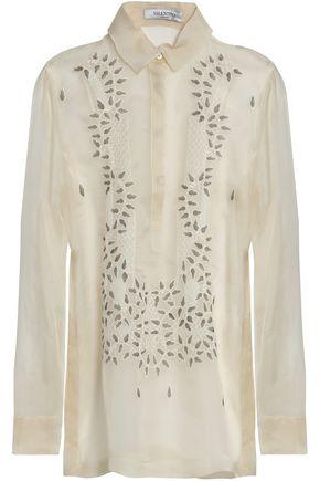 VALENTINO Embroidered silk-organza blouse