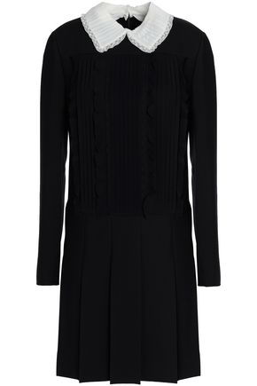 VALENTINO Lace-trimmed pleated wool and silk-blend mini dress