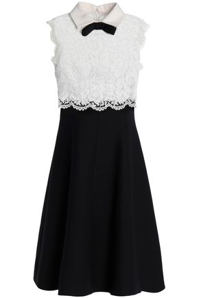 VALENTINO Bow-embellished corded lace and wool and silk-blend crepe dress