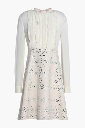 VALENTINO Crepe de chine-paneled embellished wool and silk-blend dress