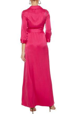 ALICE + OLIVIA Bayley wrap-effect silk-blend satin maxi dress