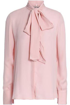 VALENTINO Ruffle-trimmed silk-crepe blouse