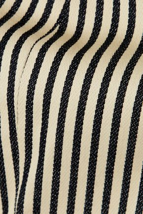ALICE + OLIVIA Cristi cropped striped cotton-blend top