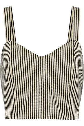 ALICE + OLIVIA Cristi cropped striped cotton-blend top