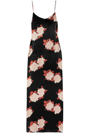 GANNI Floral-print satin maxi slip dress