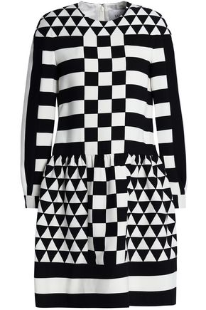 VALENTINO Printed wool and silk-blend twill mini dress
