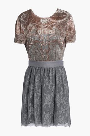 VALENTINO Embellished embroidered silk-tulle and lace mini dress