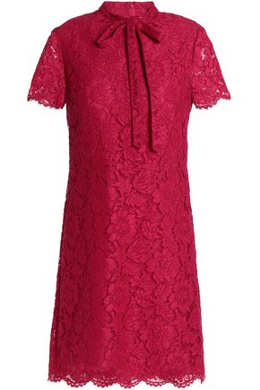VALENTINO Pussy-bow cotton-blend corded lace mini dress