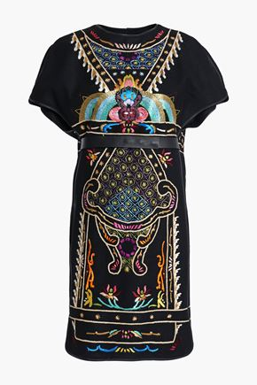 VALENTINO Leather-trimmed embroidered brushed-wool mini dress