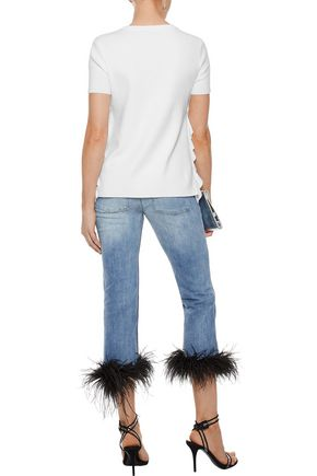 ALICE + OLIVIA Ivan ruffle-trimmed cotton-blend jersey T-shirt